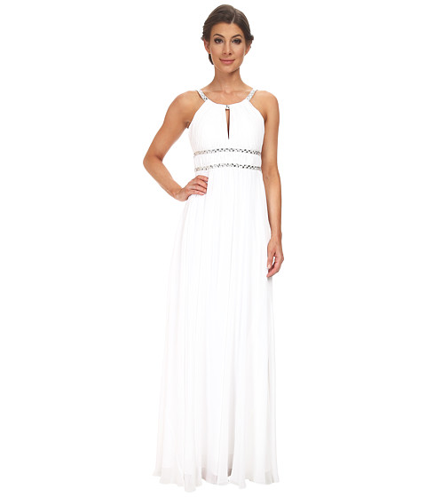 Aidan Mattox - Chiffon Grecian Gown with Beaded Trim (Ivory) Women