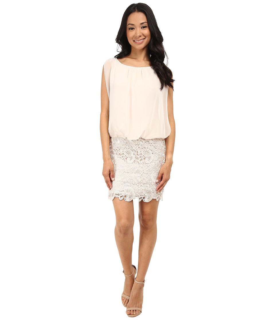 Aidan Mattox Blousson Cocktail Dress with Lace Skirt (Champagne) Women