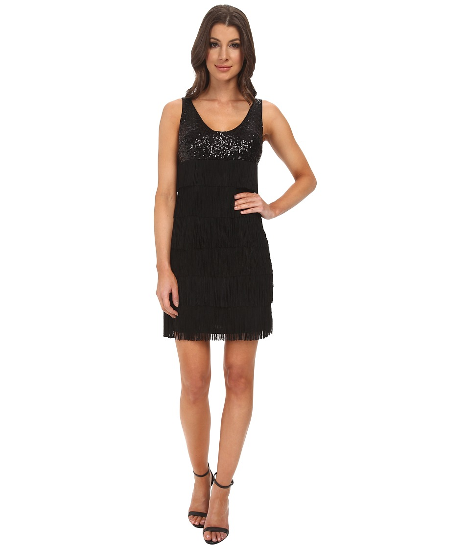 Aidan Mattox Sequin Tank Dress with Flapper Fringe (Black) Women