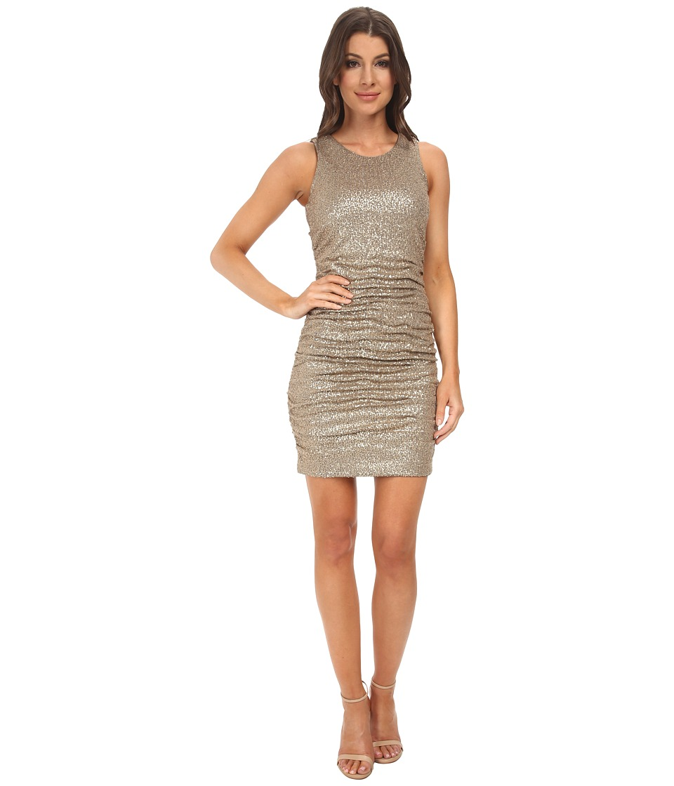 Aidan Mattox Sleeveless Stretch Sequin Knit Cocktail Dress (Gold) Women