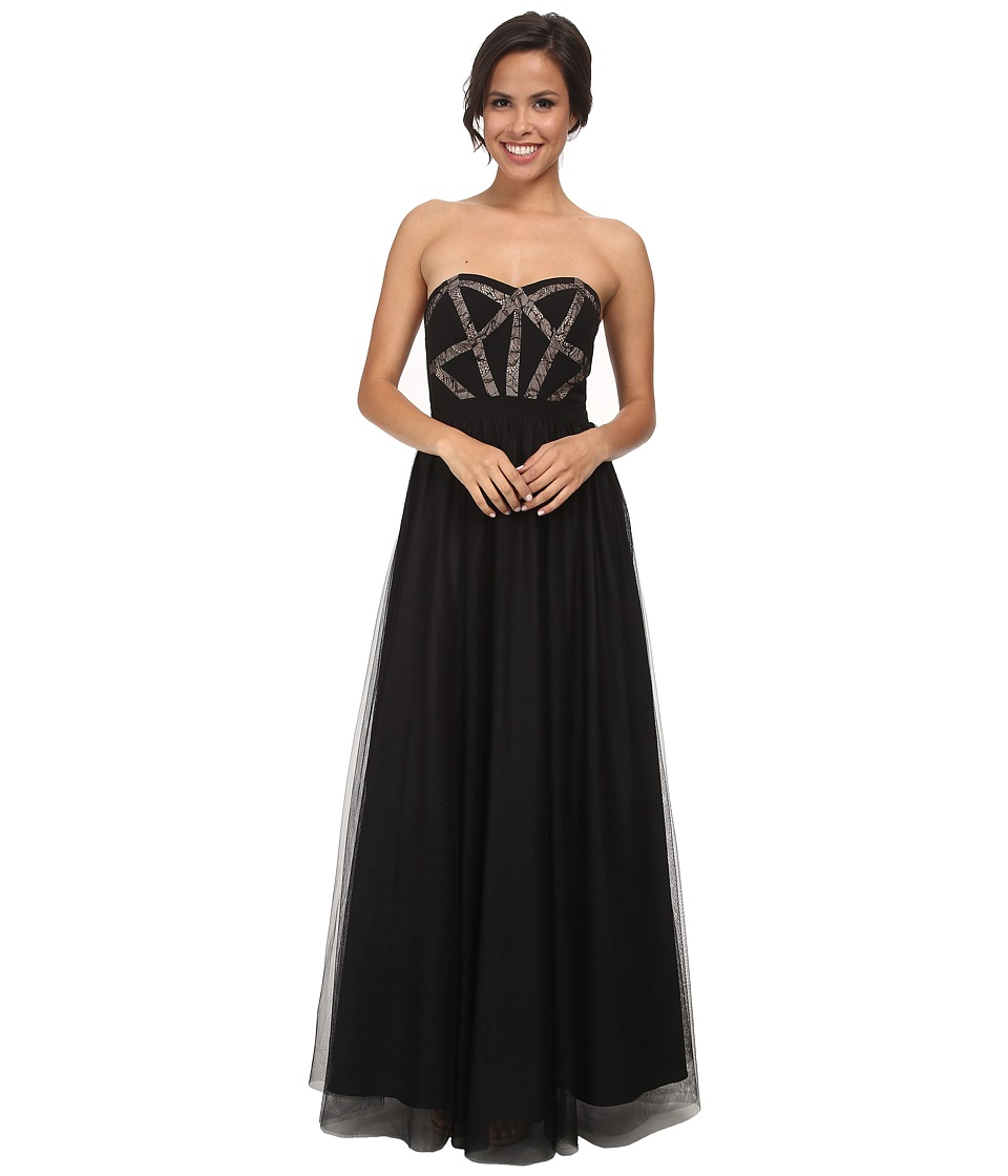 Aidan Mattox - Strapless Corset Ball Gown (Black) Women's Dress
