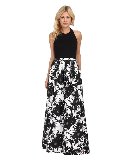 Aidan Mattox - Stretch Halter Top with Printed Ball Skirt (Black/White) Women's Dress