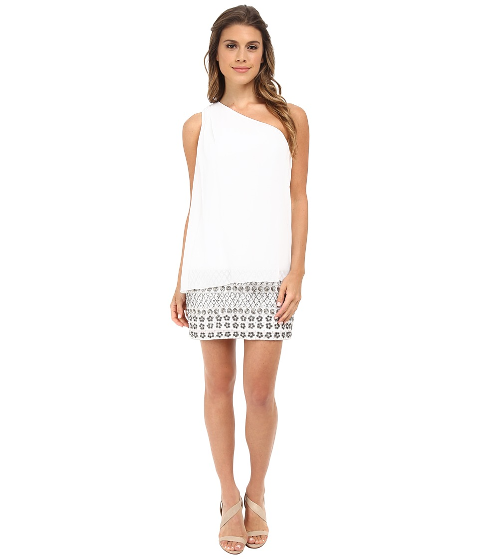 Aidan Mattox Chiffon Fly Away Dress with Beading (Ivory) Women