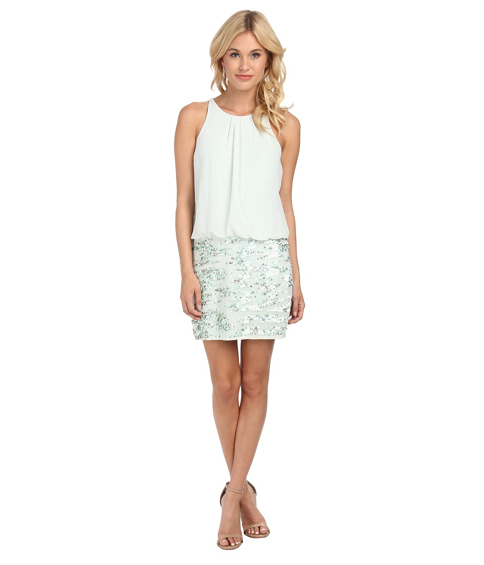 Aidan Mattox - Halter Chiffon with Sequin and Bead Skirt (Mist) Women