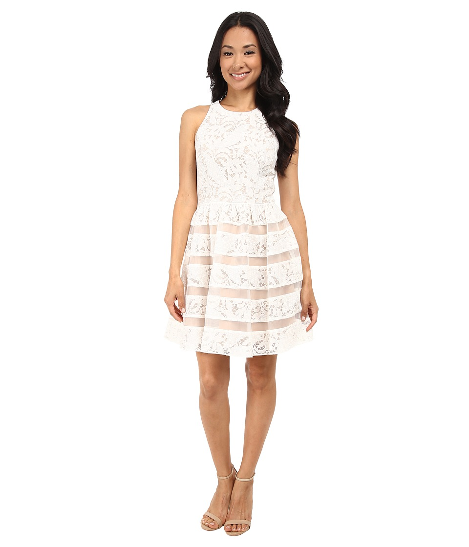 Aidan Mattox Embroidered Lace Dress with Organza Illusion (Ivory/Nude) Women