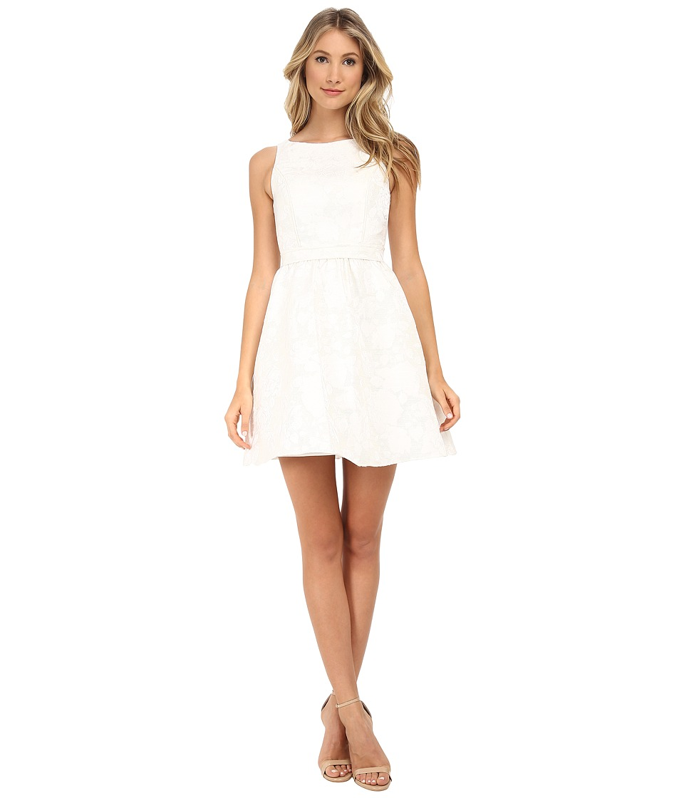 Aidan Mattox Sleeveless Jacquard Party Dress with Open Back (Ivory) Women