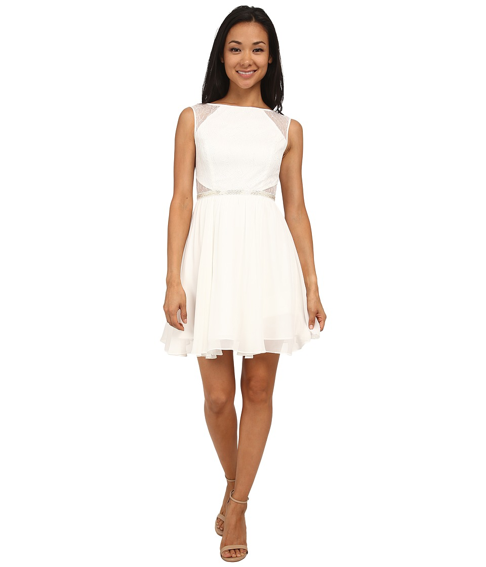 Aidan Mattox Chiffon Party Dress with Lace Illusion (Ivory) Women