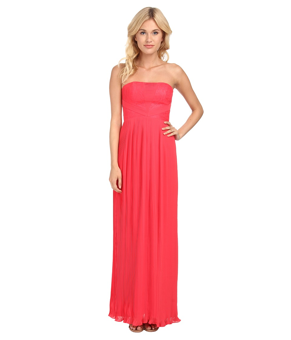 Aidan Mattox Strapless Pleated Chiffon Gown (Lipstick) Women