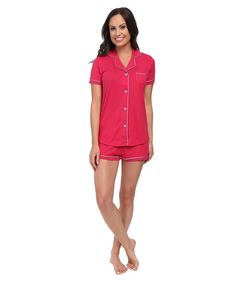 Cosabella - Bella Short Sleeve Top and Boxer (Garnet/Issues) Women's Pajama Sets