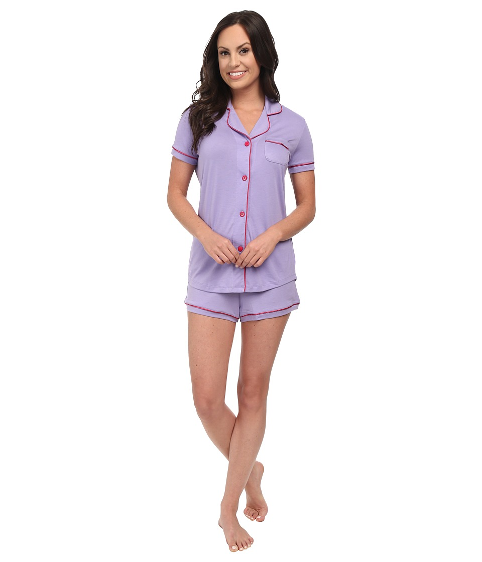 Cosabella - Bella Short Sleeve Top and Boxer (Issus/Garnet) Women's Pajama Sets