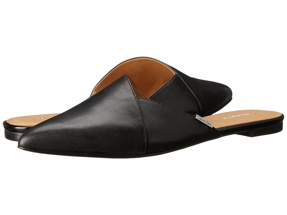 Calvin Klein - Garnett (Black Cow Silk/Matte Lizard) Women's Slip-on Dress Shoes