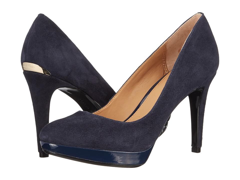 Calvin Klein - Paulette (Deep Navy Kid Suede/Patent) High Heels