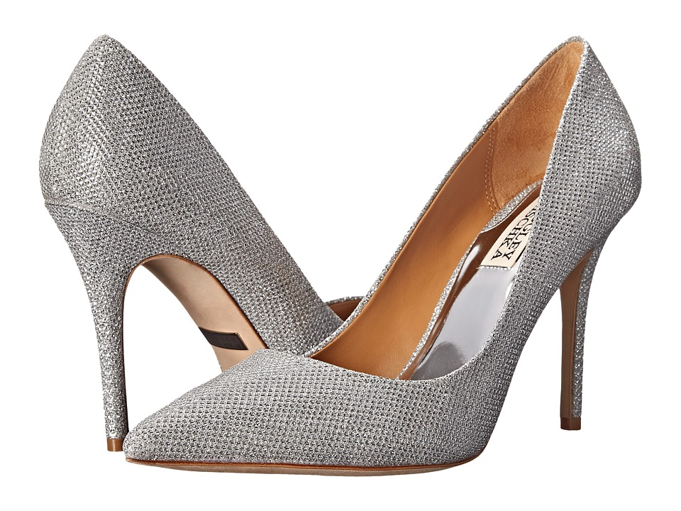 Badgley Mischka Ponder Silver Diamond Drill Fabric High Heels