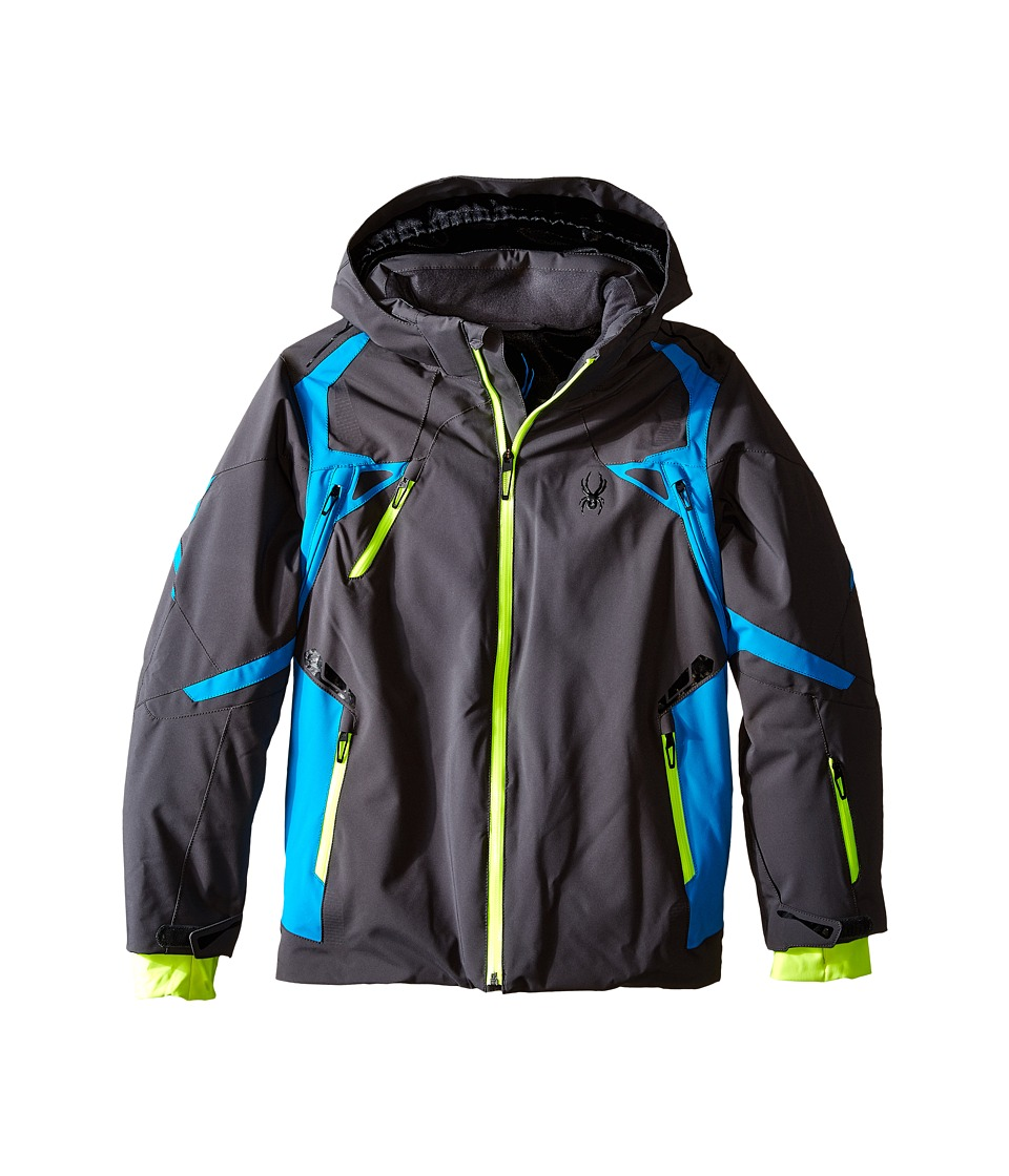 Spyder Kids - Vail Jacket (Big Kids) (Polar/Electric Blue/Bryte Yellow) Boy's Coat