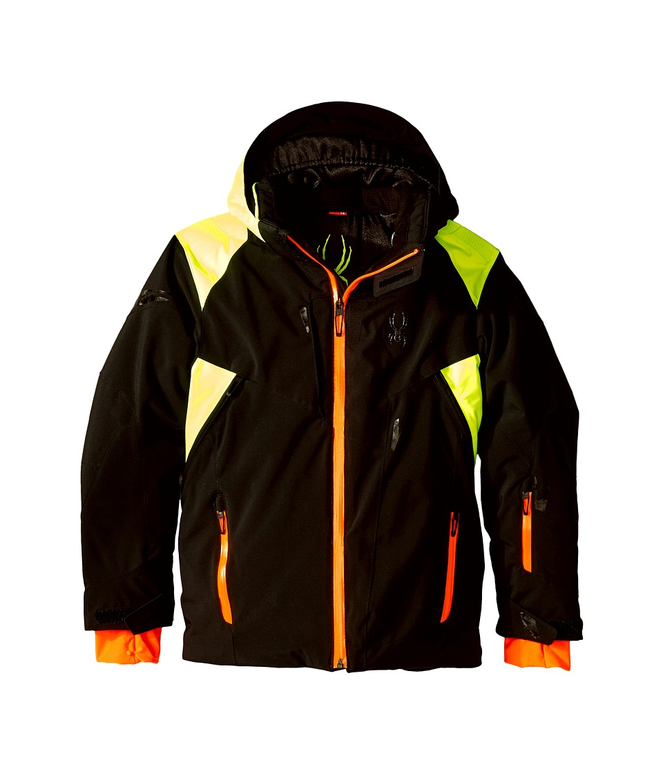 Spyder Kids - Speed Jacket (Big Kids) (Black/Bryte Yellow/Bryte Orange) Boy's Coat