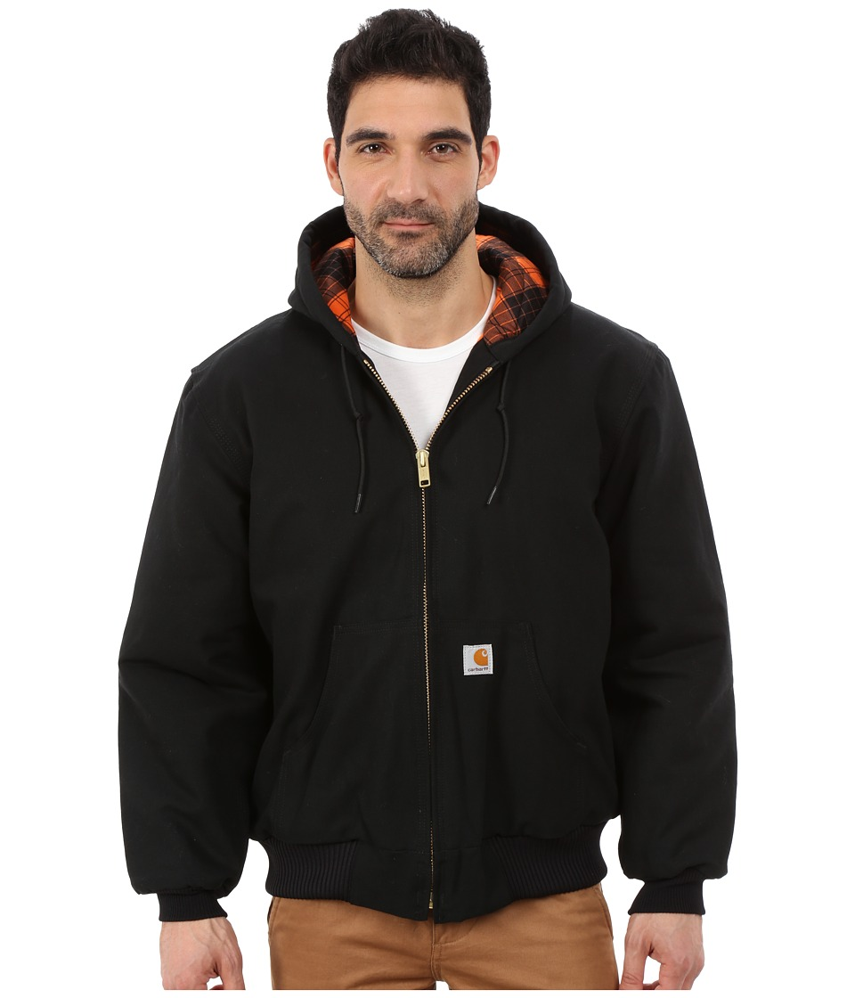 Carhartt - Camo Lined Duck Active Jacket (Black/Blaze Orange) Men