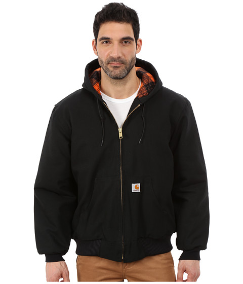 Carhartt - Camo Lined Duck Active Jacket (Black/Blaze Orange) Men's Coat
