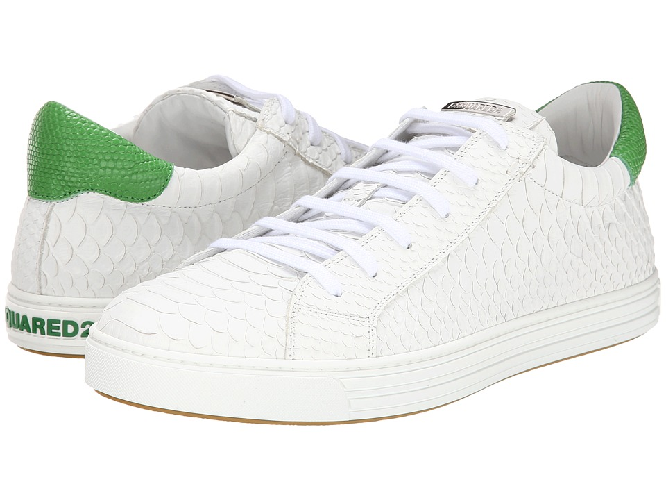 DSQUARED2 - Scale Print Tennis Club Sneaker (White/Lime) Men's Shoes