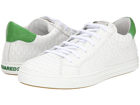 DSQUARED2 - Scale Print Tennis Club Sneaker (White/Lime) Men