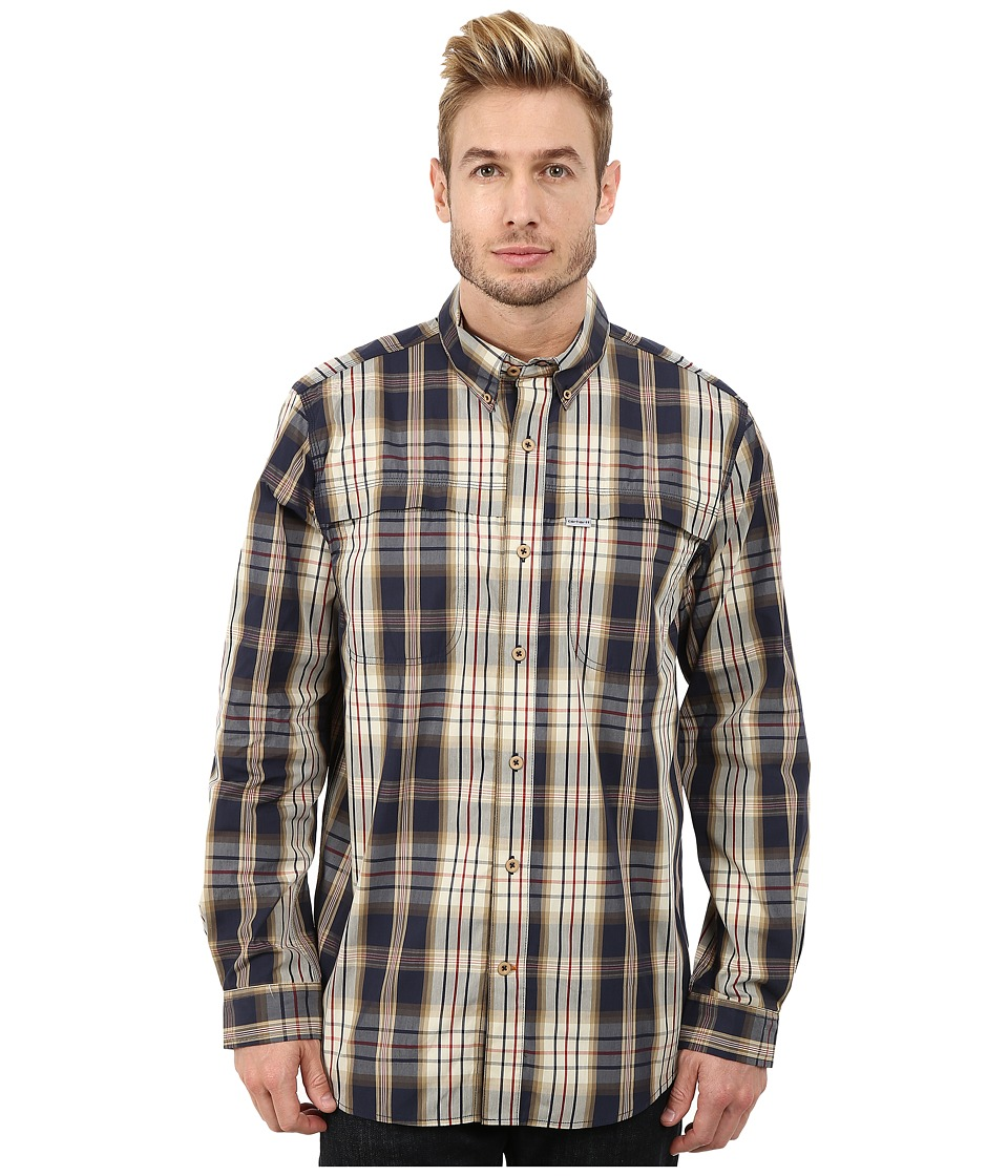 Carhartt - Force Mandan Plaid Long Sleeve Shirt (Navy) Men's Long Sleeve Button Up