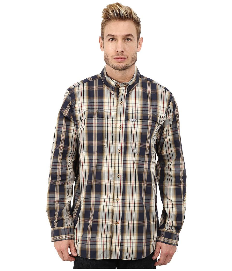 Carhartt - Force Mandan Plaid Long Sleeve Shirt (Navy) Men's Long Sleeve Button Up