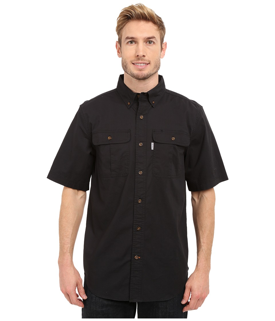 Carhartt - Foreman Solid Short Sleeve Work Shirt (Black) Men's Clothing