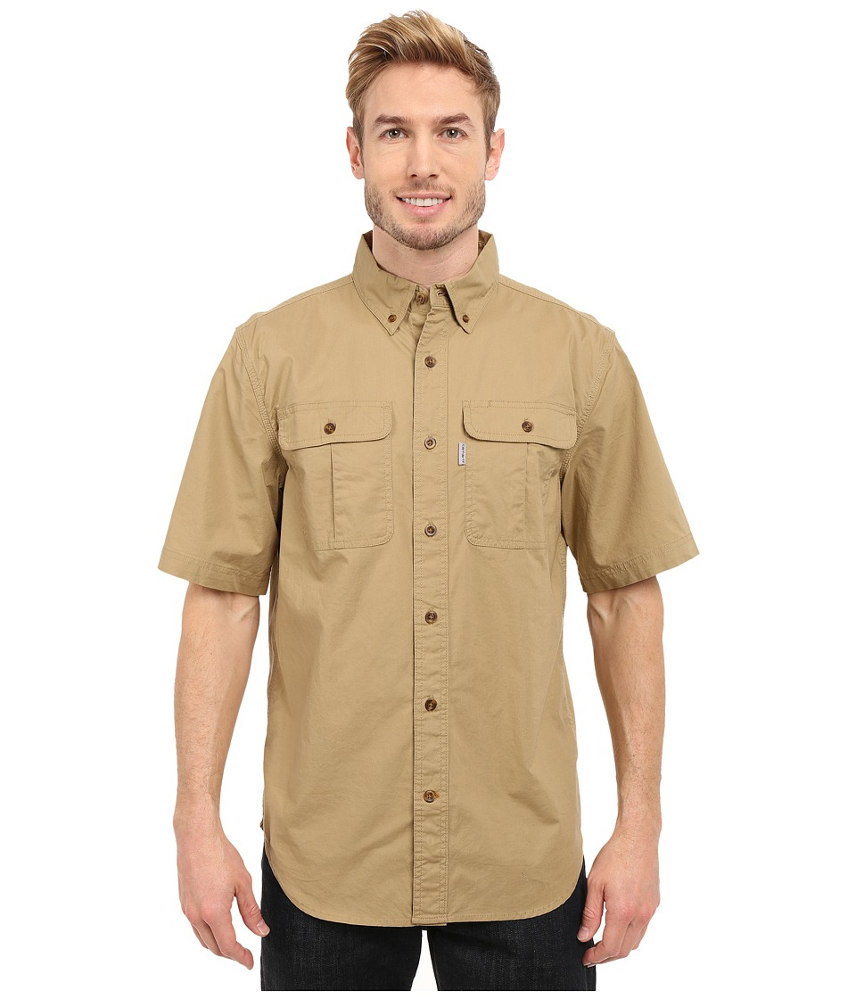 Carhartt - Foreman Solid Short Sleeve Work Shirt (Dark Khaki) Men's Clothing