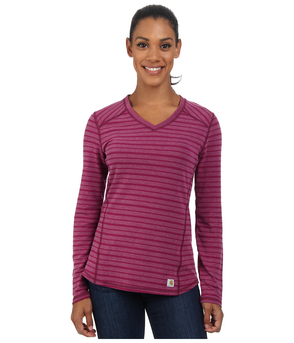 Carhartt - Force Long Sleeve V-Neck/Striped T-Shirt (Magenta Heather Stripe) Women's T Shirt