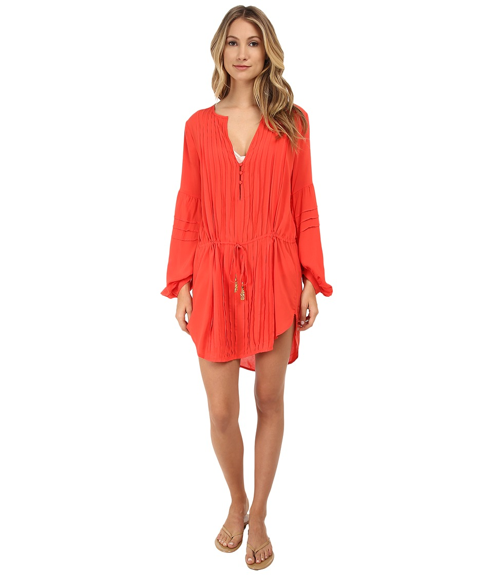 Vix - Solid Coral Red Paris Tunic Cover-Up (Coral Red) Women's Swimwear