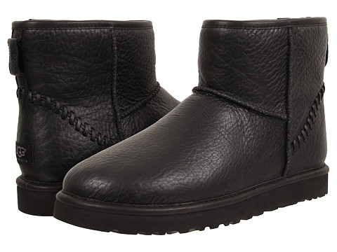 UGG - Classic Mini Deco (Black Leather) Men
