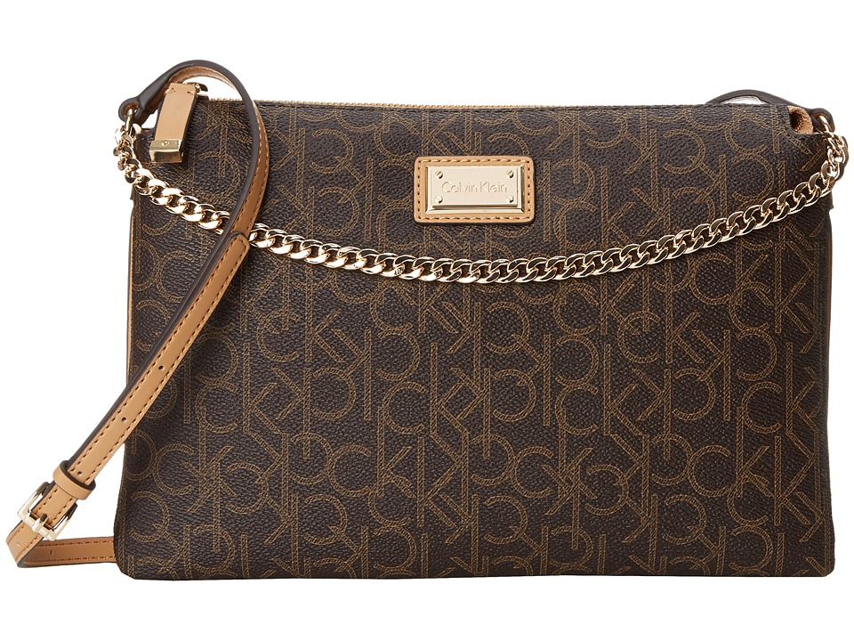 Calvin Klein - Logo Chain Crossbody (Brown/Khaki/Camel) Cross Body Handbags