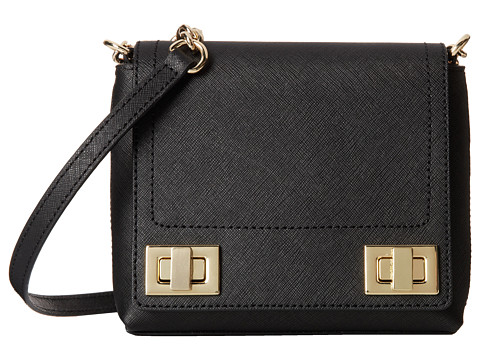 Calvin Klein - Saffiano Turnlock Crossbody (Black/Gold) Cross Body Handbags