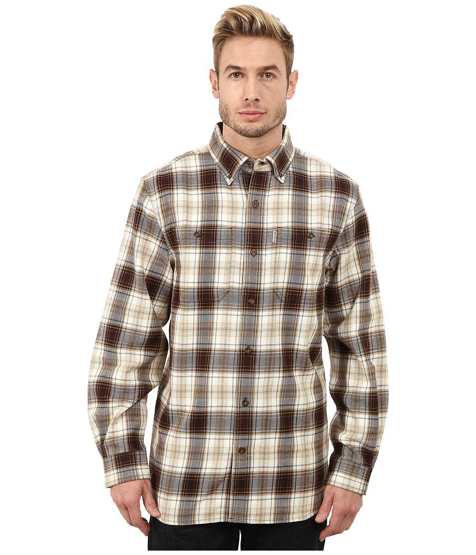 Carhartt - Trumbull Plaid Long Sleeve Shirt (Dark Brown) Men's Long Sleeve Button Up