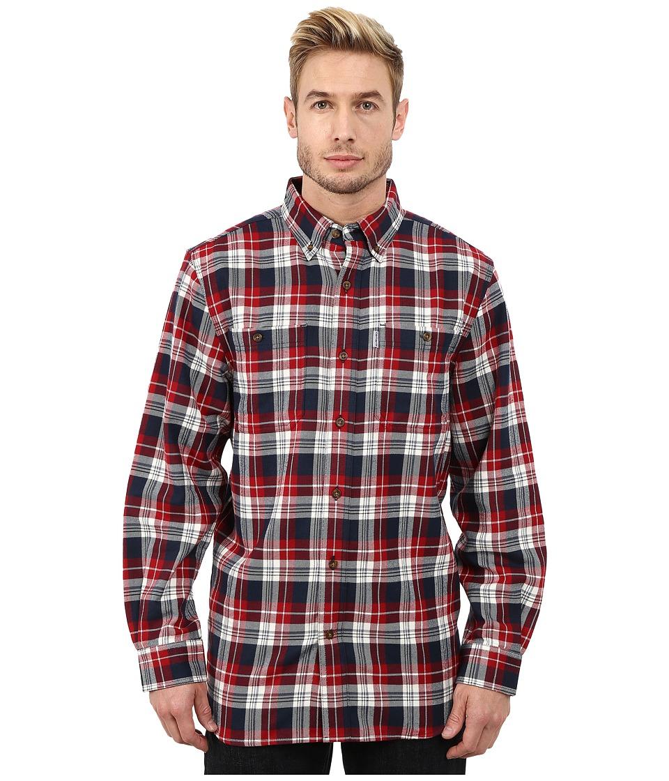 Carhartt - Trumbull Plaid Long Sleeve Shirt (Dark Crimson) Men's Long Sleeve Button Up