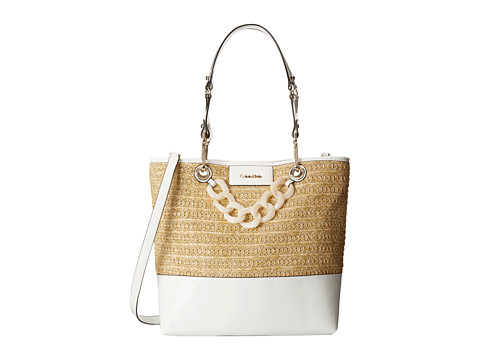 Calvin Klein - Straw Unlined Tote (Natural/White) Tote Handbags