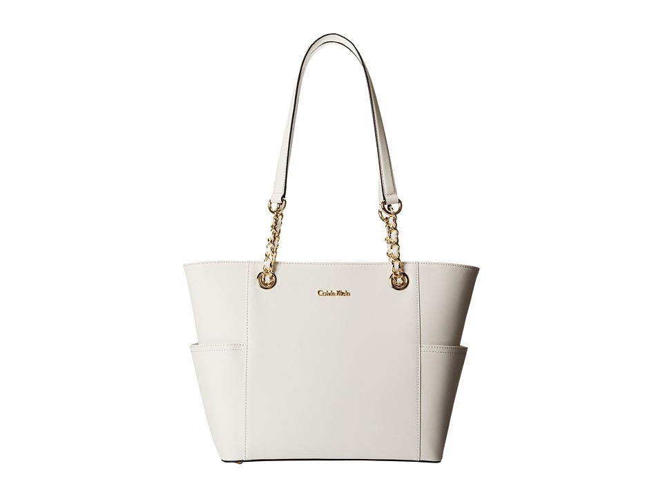 Calvin Klein - Key Item Saffiano Leather Tote (White) Tote Handbags