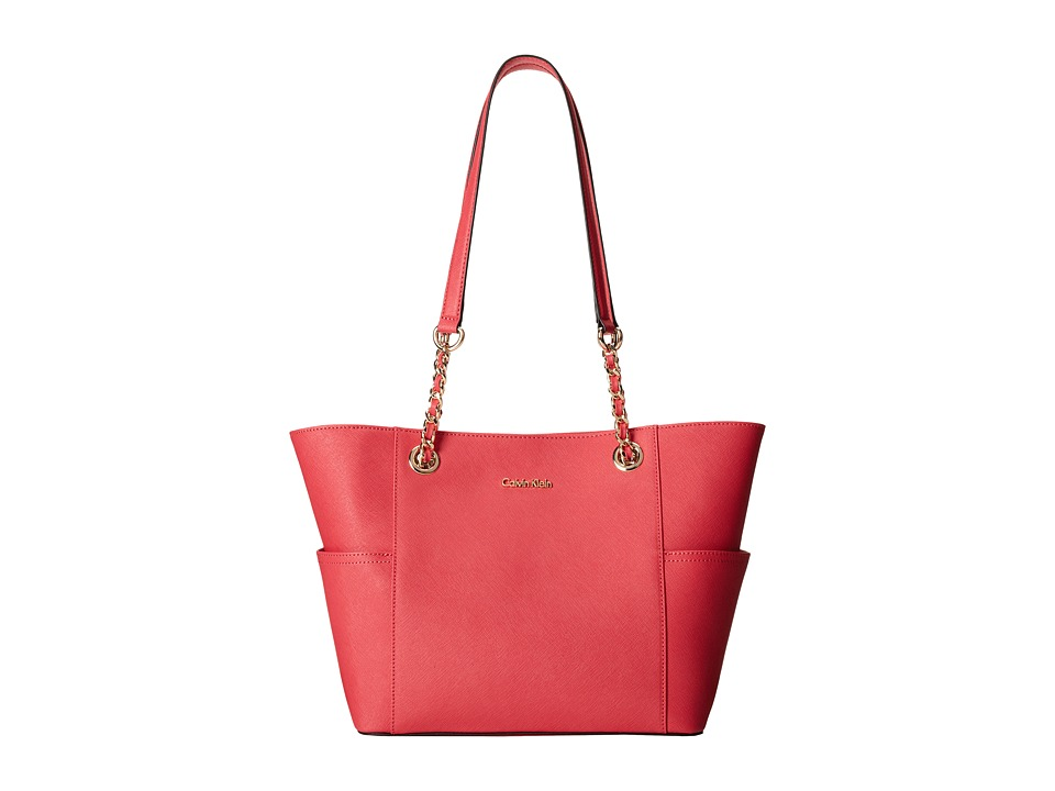 Calvin Klein - Key Item Saffiano Leather Tote (Watermelon) Tote Handbags