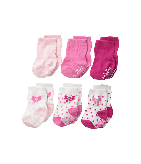 Robeez - 6-Pack Socks Playful w/ Gift Box (Infant) (Pink) Girls Shoes