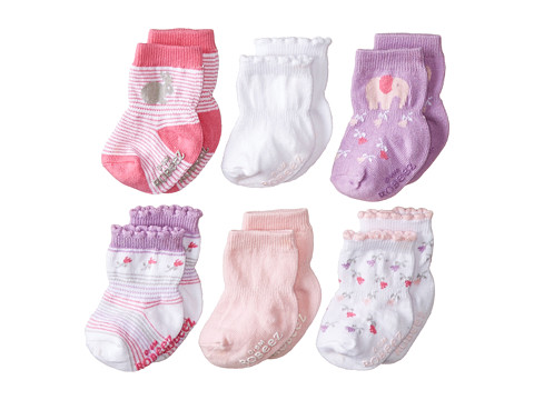 Robeez - 6-Pack Socks Favorite w/ Gift Box (Infant) (Pastel Pink) Girls Shoes