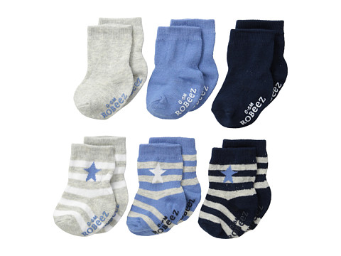 Robeez - 6-Pack Socks Rugby Star w/ Gift Box (Infant) (Blue) Boys Shoes
