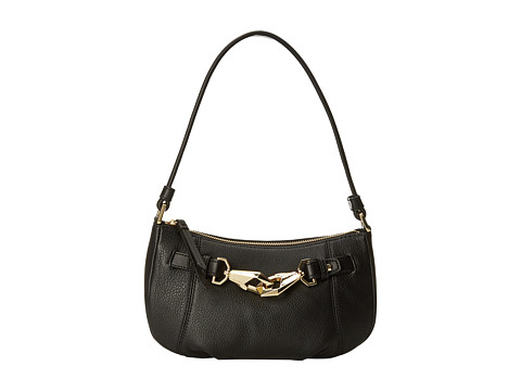 Calvin Klein - Pebble Leather Zip Demi (Black/Gold) Handbags