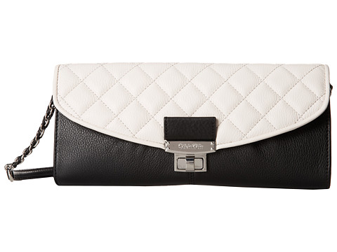 Calvin Klein - Quilted Pebble Leather Clutch (Black/White) Clutch Handbags