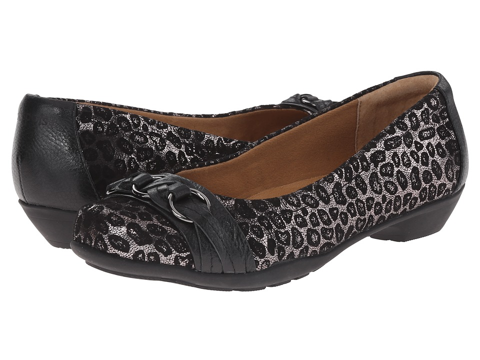 Comfortiva - Posie - Soft Spots (Pewter Metallic Leopard Suede) Women's Slip on Shoes