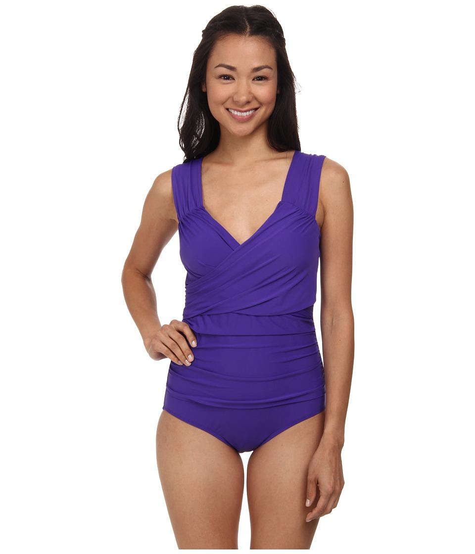 Athena - Finesse Solids Wide Strap Drape Front One-Piece (Grape) Women