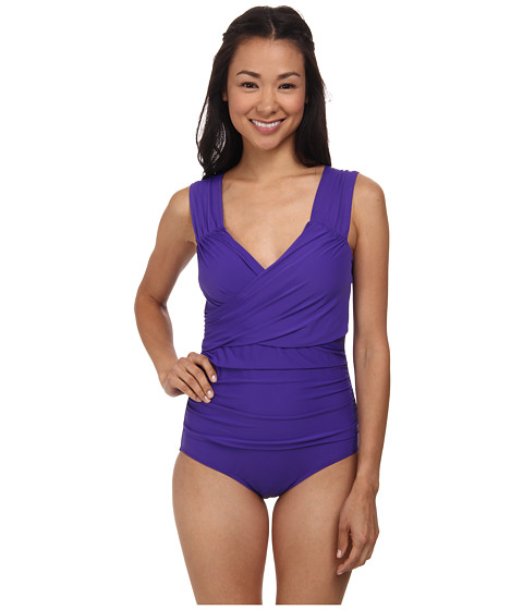 Athena - Finesse Solids Wide Strap Drape Front One-Piece (Grape) Women's Swimsuits One Piece