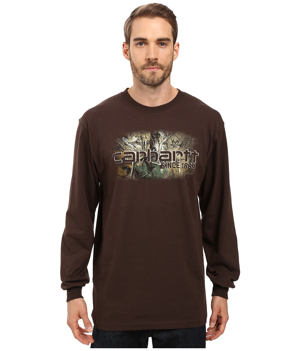Carhartt - Workwear Graphic Camo 1889 Long Sleeve Tee (Dark Brown) Men's T Shirt