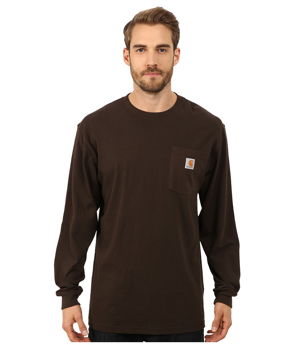 Carhartt - Workwear Graphic Branded C Long Sleeve Tee (Dark Brown) Men's T Shirt