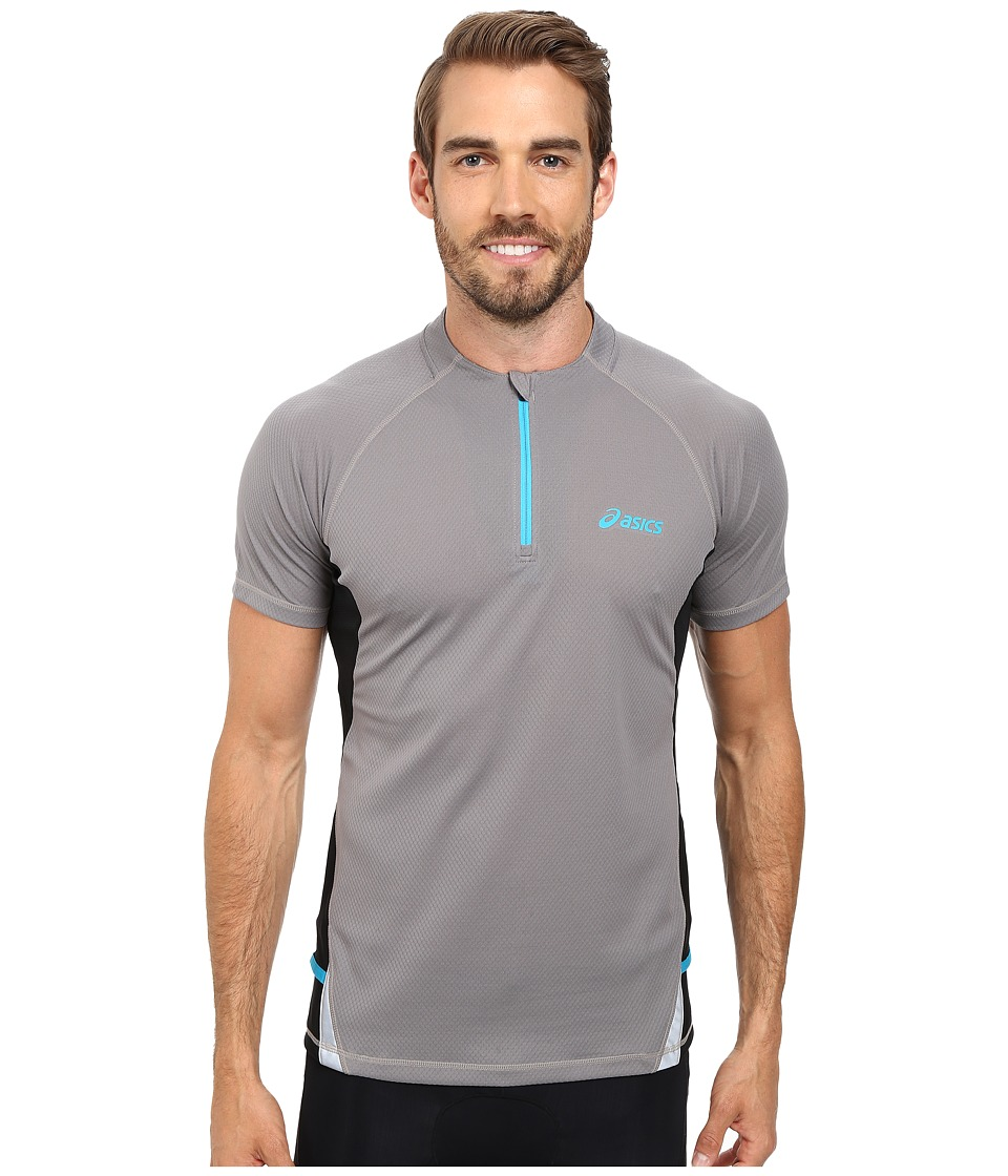 ASICS - Fuji Short Sleeve 1/2 Zip (Stone/Perf Black) Men's Workout