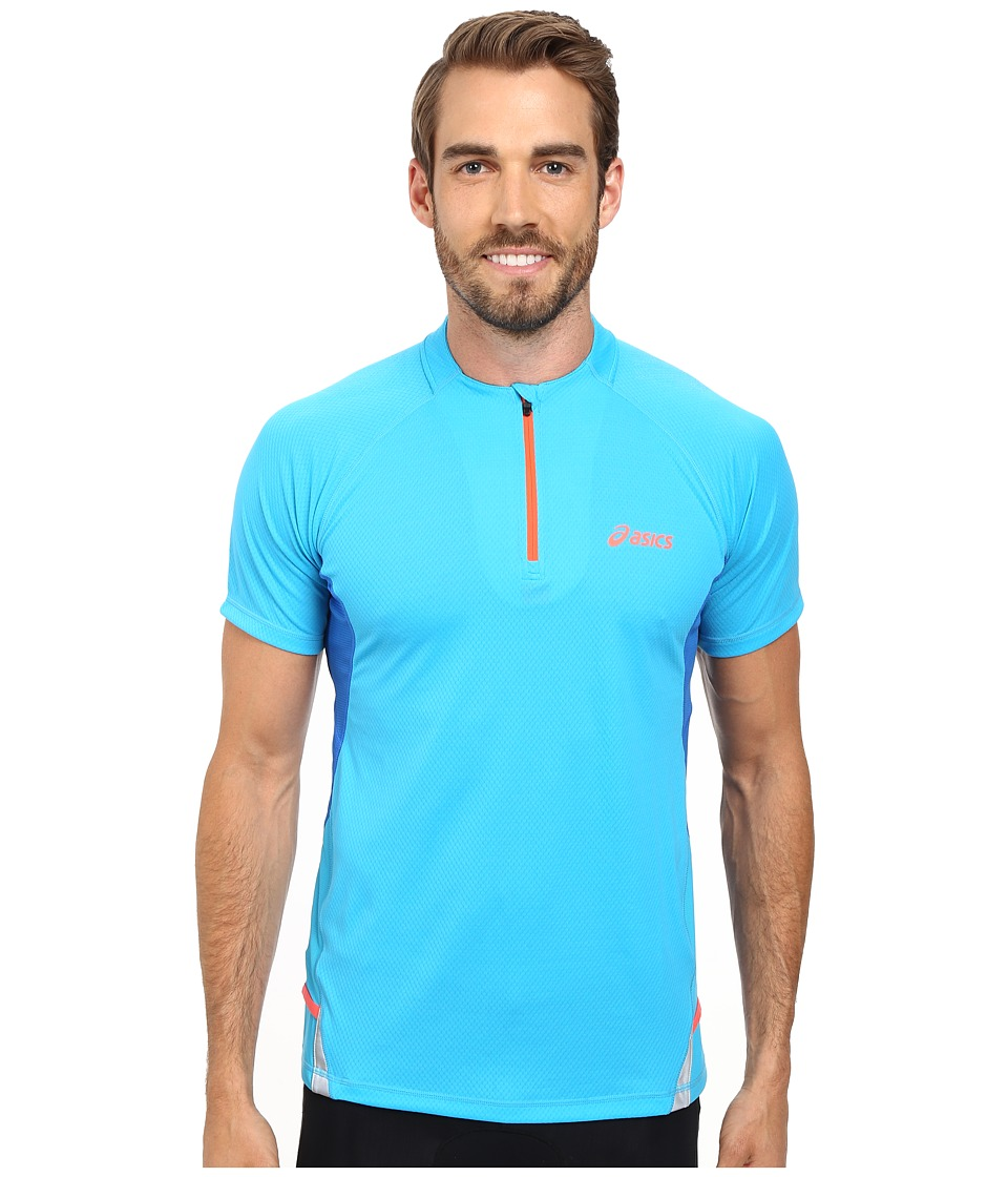ASICS - Fuji Short Sleeve 1/2 Zip (Atomic Blue/Speed Blue) Men's Workout