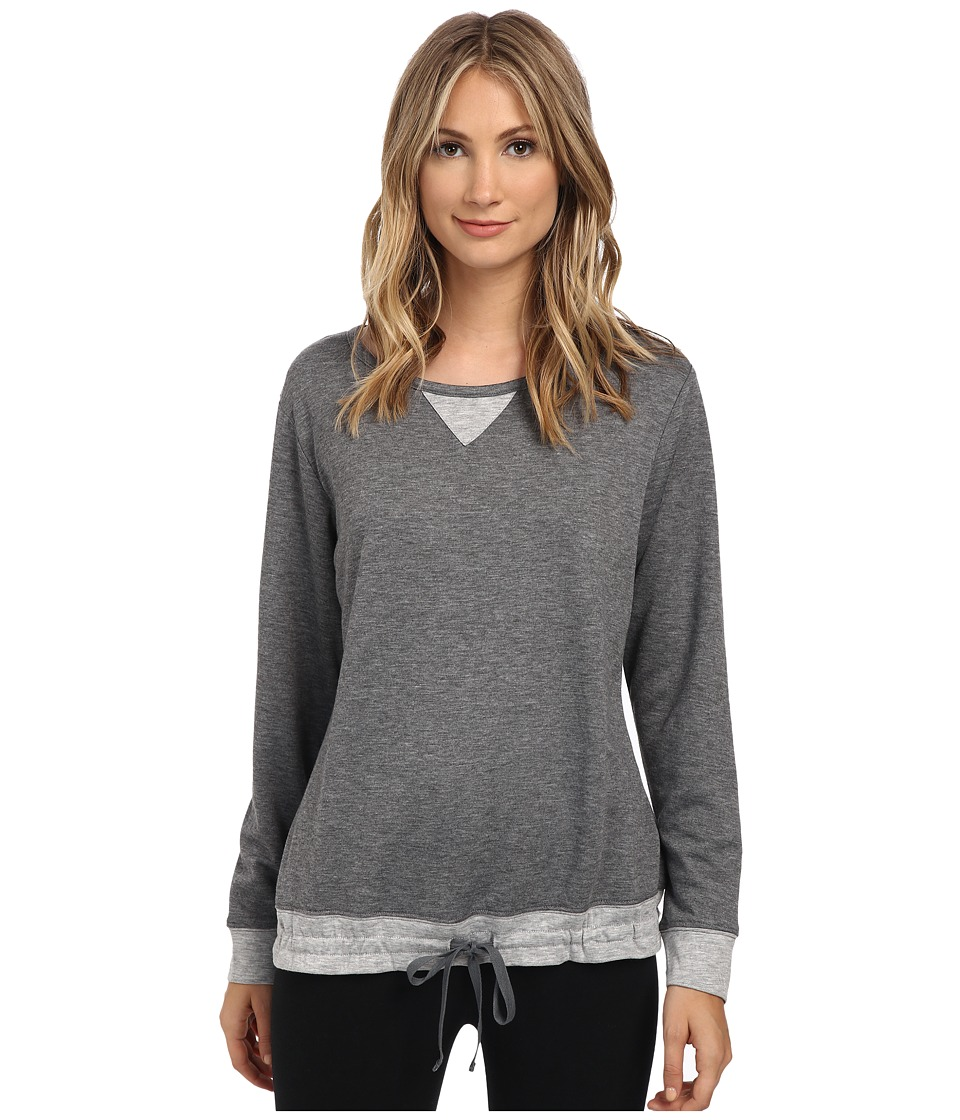 Carole Hochman - Double Faced Jersey Long Sleeve Top (Charcoal Heather) Women's Pajama